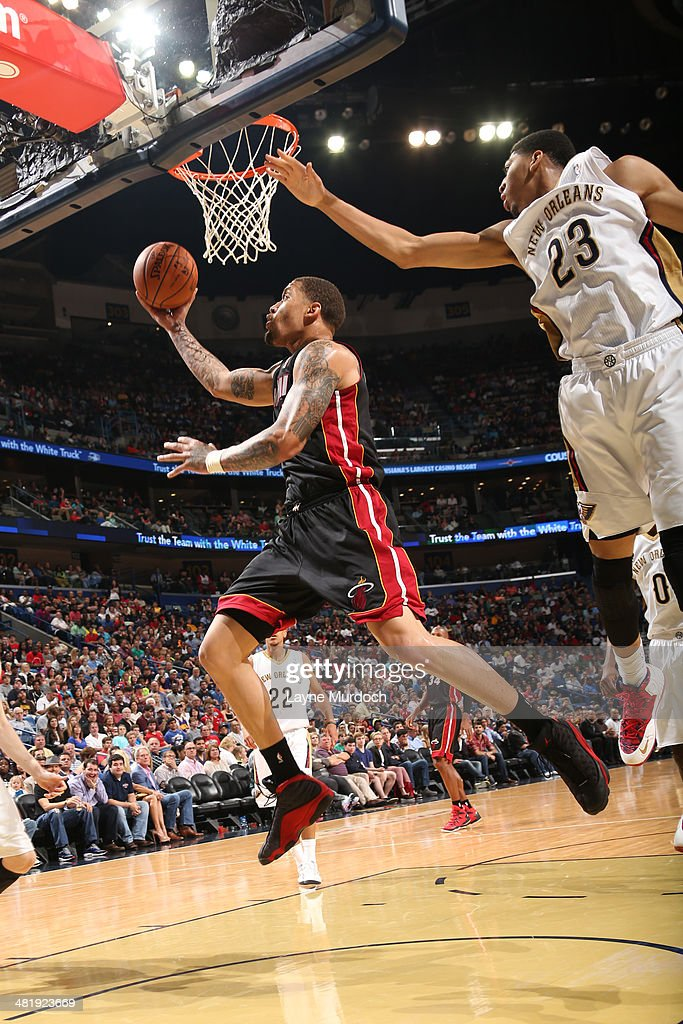 <a gi-track='captionPersonalityLinkClicked' href=/galleries/search?phrase=Michael+Beasley&family=editorial&specificpeople=4135134 ng-click='$event.stopPropagation()'>Michael Beasley</a> #8 of the Miami Heat shoots against the New Orleans Pelicans on March 22, 2014 at the Smoothie King Center in New Orleans, Louisiana.