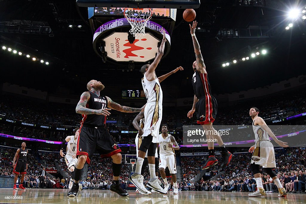 Michael Beasley #8 of the Miami Heat takes a shot against the New Orleans Pelicans on March 22, 2014 at the Smoothie King Center in New Orleans, Louisiana.