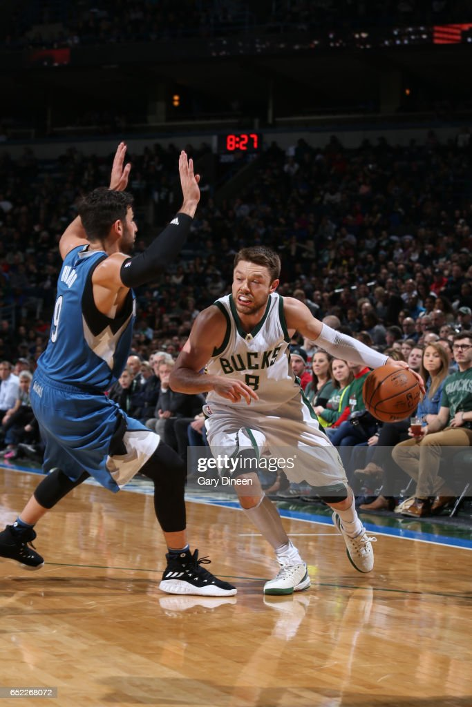 Michael Beasley #9 of the Milwaukee Bucks handles the ball against the Minnesota Timberwolves on March 11, 2017 at the BMO Harris Bradley Center in Milwaukee, Wisconsin.
