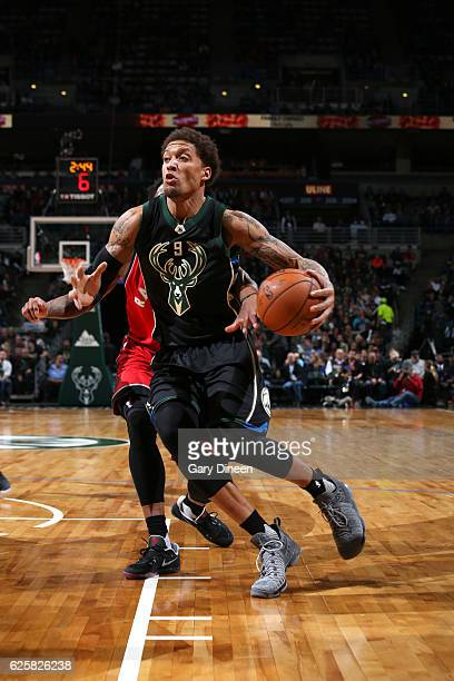 Michael Beasley of the Milwaukee Bucks handles the ball during the game against the Toronto Raptors on November 25 2016 at the BMO Harris Bradley...