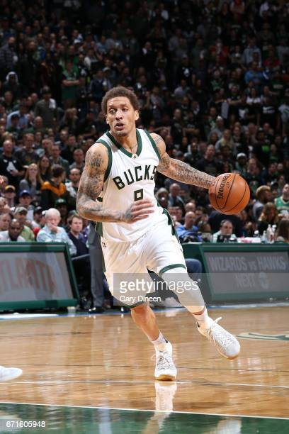 Michael Beasley of the Milwaukee Bucks handles the ball during the game against the Toronto Raptors in Game Four during the Eastern Conference...