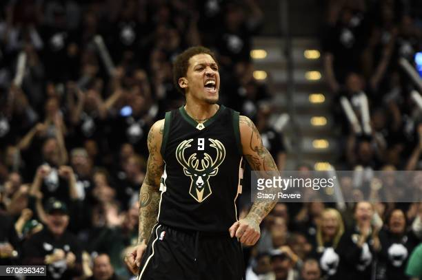Michael Beasley of the Milwaukee Bucks reacts to a threepoint shot against the Toronto Raptors during the first half of Game Three of the Eastern...