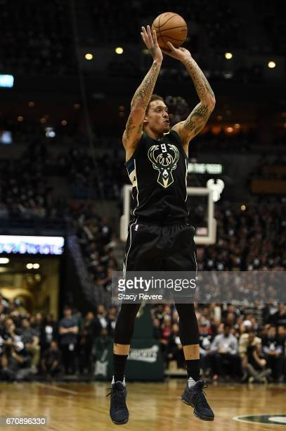 Michael Beasley of the Milwaukee Bucks takes a threepoint shot against the Toronto Raptors during the first half of Game Three of the Eastern...