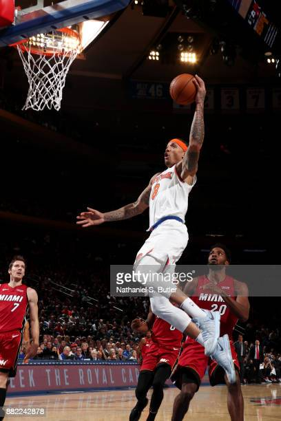 Michael Beasley of the New York Knicks dunks the ball during the game against the Miami Heat on November 29 2017 at Madison Square Garden in New York...