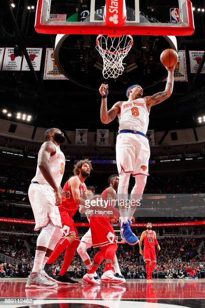 Michael Beasley of the New York Knicks grabs the rebound against the Chicago Bulls on December 9 2017 at the United Center in Chicago Illinois NOTE...