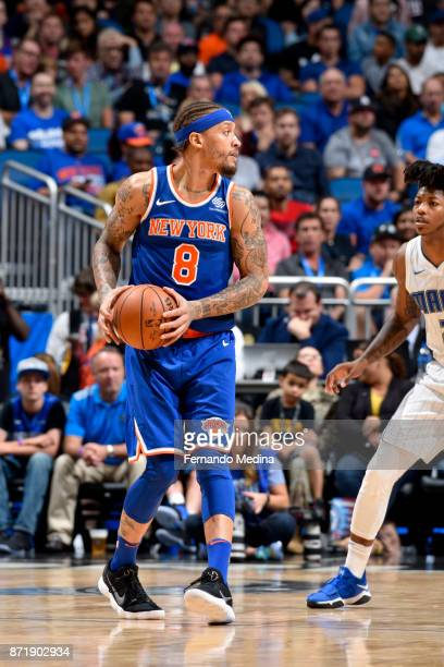 Michael Beasley of the New York Knicks handles the ball against the Orlando Magic on November 8 2017 at Amway Center in Orlando Florida NOTE TO USER...
