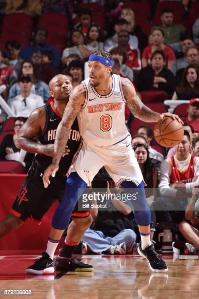 Michael Beasley of the New York Knicks handles the ball against the Houston Rockets on November 25 2017 at the Toyota Center in Houston Texas NOTE TO...