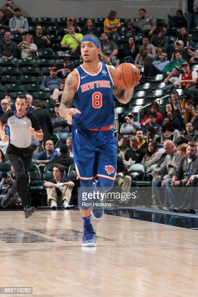 Michael Beasley of the New York Knicks handles the ball against the Indiana Pacers on December 4 2017 at Bankers Life Fieldhouse in Indianapolis...