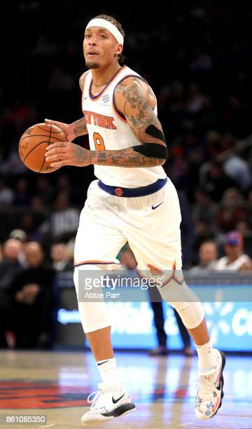 Michael Beasley of the New York Knicks looks down the court during the second half against the Washington Wizards during their Pre Season game at...