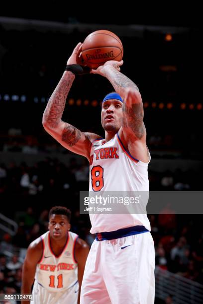 Michael Beasley of the New York Knicks shoots a free throw during the game against the Chicago Bulls on December 9 2017 at the United Center in...