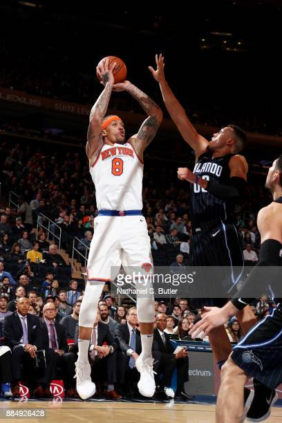 Michael Beasley of the New York Knicks shoots the ball during the game against the Orlando Magic on December 3 2017 at Madison Square Garden in New...