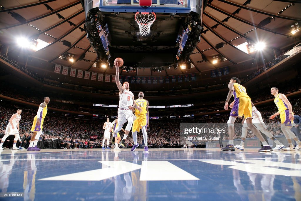 Michael Beasley #8 of the New York Knicks shoots the ball during the game against the Los Angeles Lakers on December 12, 2017 at Madison Square Garden in New York, New York.