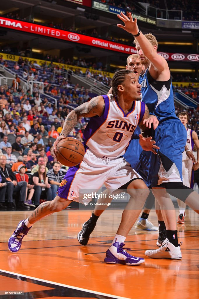 Michael Beasley #0 of the Phoenix Suns drives to the basket against the Minnesota Timberwolves on March 22, 2013 at U.S. Airways Center in Phoenix, Arizona.