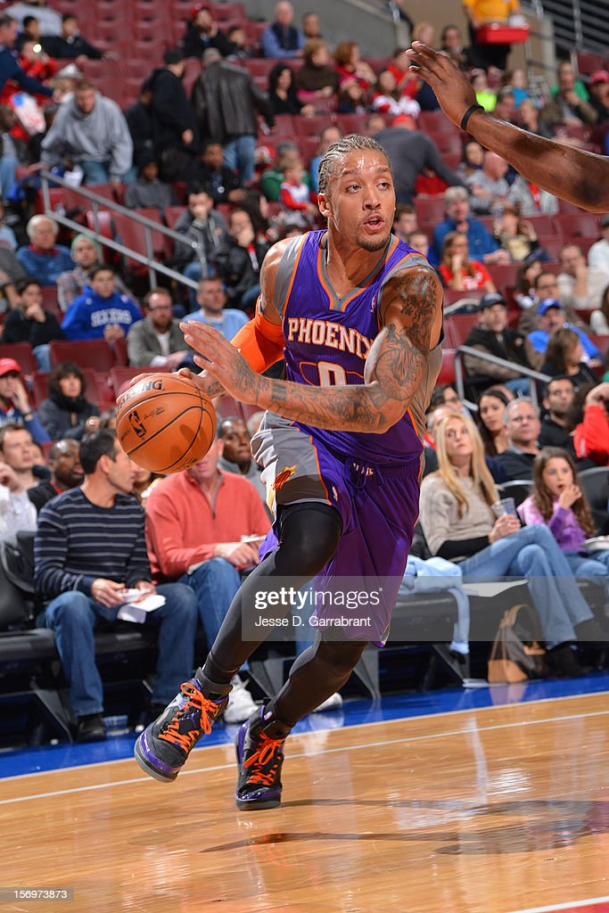 Michael Beasley #0 of the Phoenix Suns handles the ball against the Philadelphia 76ers at the Wells Fargo Center on November 25, 2012 in Philadelphia, Pennsylvania.
