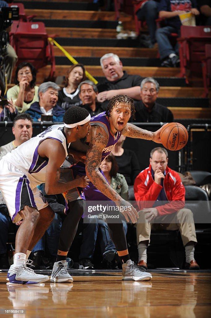 Michael Beasley #0 of the Phoenix Suns looks to pass the ball against the Sacramento Kings on January 23, 2013 at Sleep Train Arena in Sacramento, California.