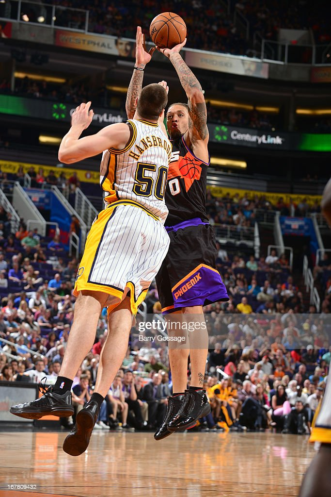 <a gi-track='captionPersonalityLinkClicked' href=/galleries/search?phrase=Michael+Beasley&family=editorial&specificpeople=4135134 ng-click='$event.stopPropagation()'>Michael Beasley</a> #0 of the Phoenix Suns shoots the ball against the Indiana Pacers on March 30, 2013 at U.S. Airways Center in Phoenix, Arizona.