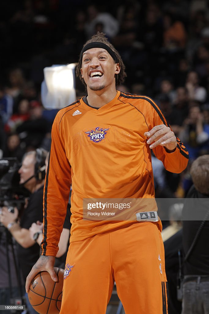 Michael Beasley #0 of the Phoenix Suns warms up before the game against the Golden State Warriors on February 2, 2013 at Oracle Arena in Oakland, California.