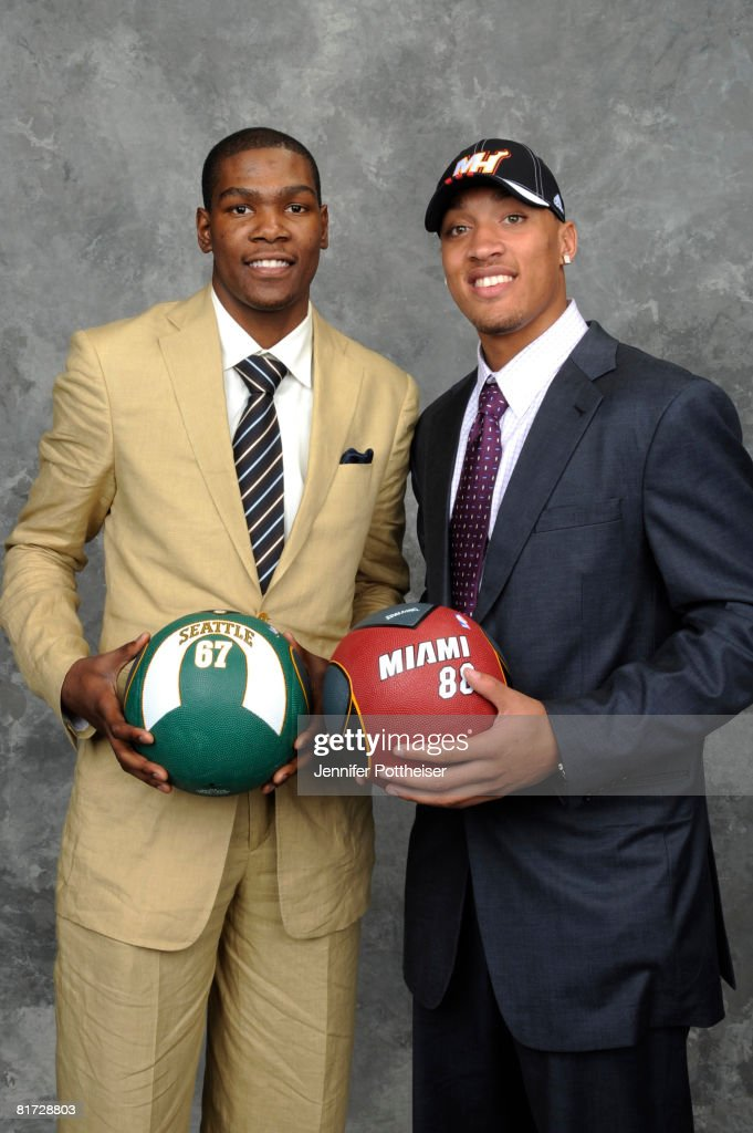 Michael Beasley, selected second overall by the Miami Heat poses for a portrait backstage with Kevin Durant #20 of the Seattle SuperSonics during the 2008 NBA Draft on June 26, 2008 at the WaMu Theatre at Madison Square Garden in New York City.