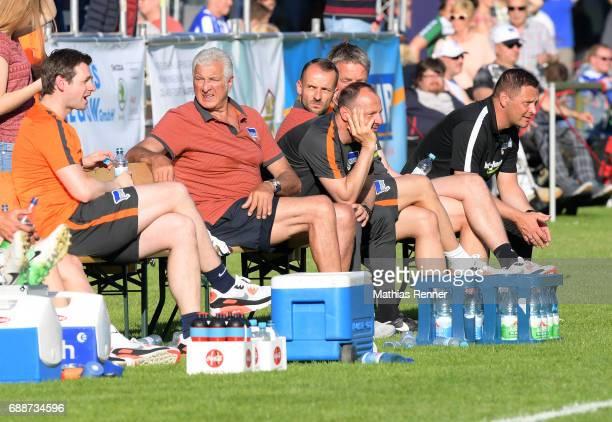 Michael Becker team leader Nello di Martino goalkeepertrainer Zsolt Petry assistant coach Admir Hamzagic and coach Pal Dardai of Hertha BSC during...