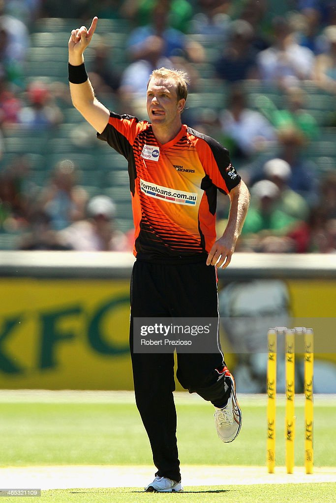 Michael Beer of the Scorchers celebrates the wicket of Mohammad Hafeez of the Stars during the Big Bash League match between the Melbourne Stars and the Perth Scorchers at Melbourne Cricket Ground on January 27, 2014 in Melbourne, Australia.