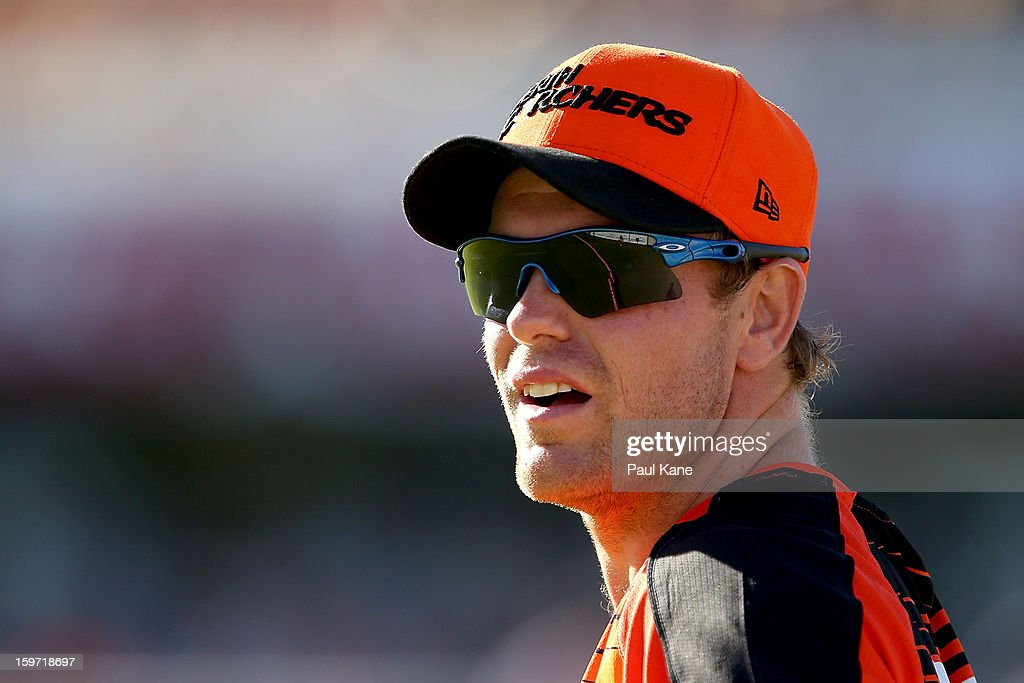 Michael Beer of the Scorchers looks on during the Big Bash League final match between the Perth Scorchers and the Brisbane Heat at the WACA on January 19, 2013 in Perth, Australia.