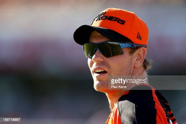 Michael Beer of the Scorchers looks on during the Big Bash League final match between the Perth Scorchers and the Brisbane Heat at the WACA on...