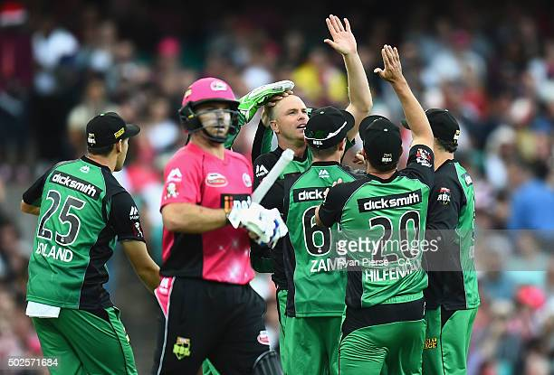 Michael Beer of the Stars celebrates after taking the wicket of Michael Lumb of the Sixers during the Big Bash League match between the Sydney Sixers...