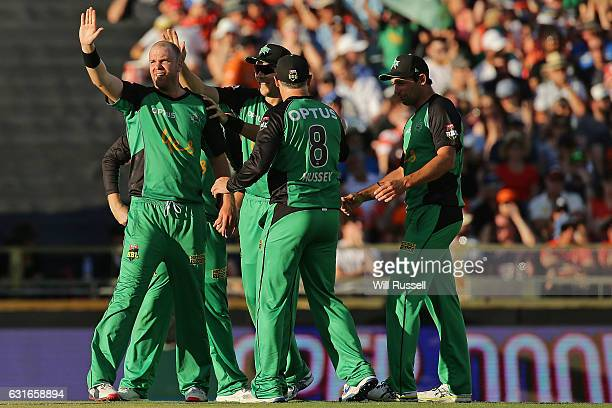 Michael Beer of the Stars celebrates after taking the wicket of Cameron Bancroft of the Scorchers during the Big Bash League match between the Perth...
