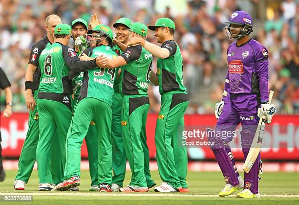 Michael Beer of the Stars is congratulated by his teammates after dismissing Kumar Sangakkara of the Hurricanes during the Big Bash League match...