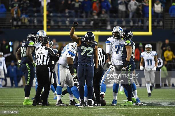 Michael Bennett of the Seattle Seahawks reacts after a sack during the second half against the Detroit Lions in the NFC Wild Card game at CenturyLink...