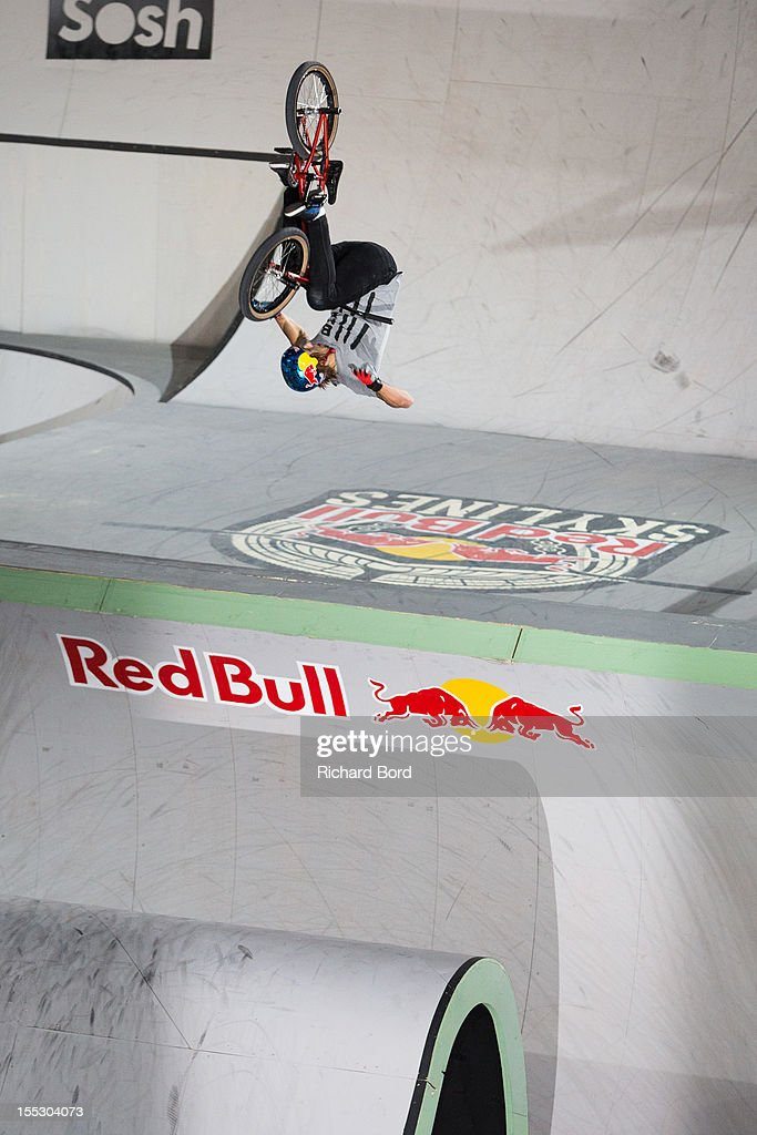 Michael Beran from Czech Republic performs during the finals of the RedBull Skylines BMX Contest at Grand Palais on November 2, 2012 in Paris, France.