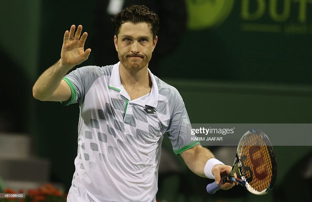 <a gi-track='captionPersonalityLinkClicked' href=/galleries/search?phrase=Michael+Berrer&family=editorial&specificpeople=780131 ng-click='$event.stopPropagation()'>Michael Berrer</a> of Germany celebrates after winning his tennis match against Spanish player Rafael Nadal in Qatar's ExxonMobil Open on January 6, 2015, in Doha. Berrer won the match 1-6, 6-3, 6-4.