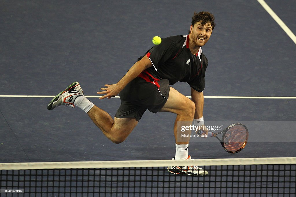 <a gi-track='captionPersonalityLinkClicked' href=/galleries/search?phrase=Michael+Berrer&family=editorial&specificpeople=780131 ng-click='$event.stopPropagation()'>Michael Berrer</a> of Germany in action during his victory against Rainer Schuettler of Germany during day one of the Open de Moselle at Les Arenes on September 20, 2010 in Metz, France.
