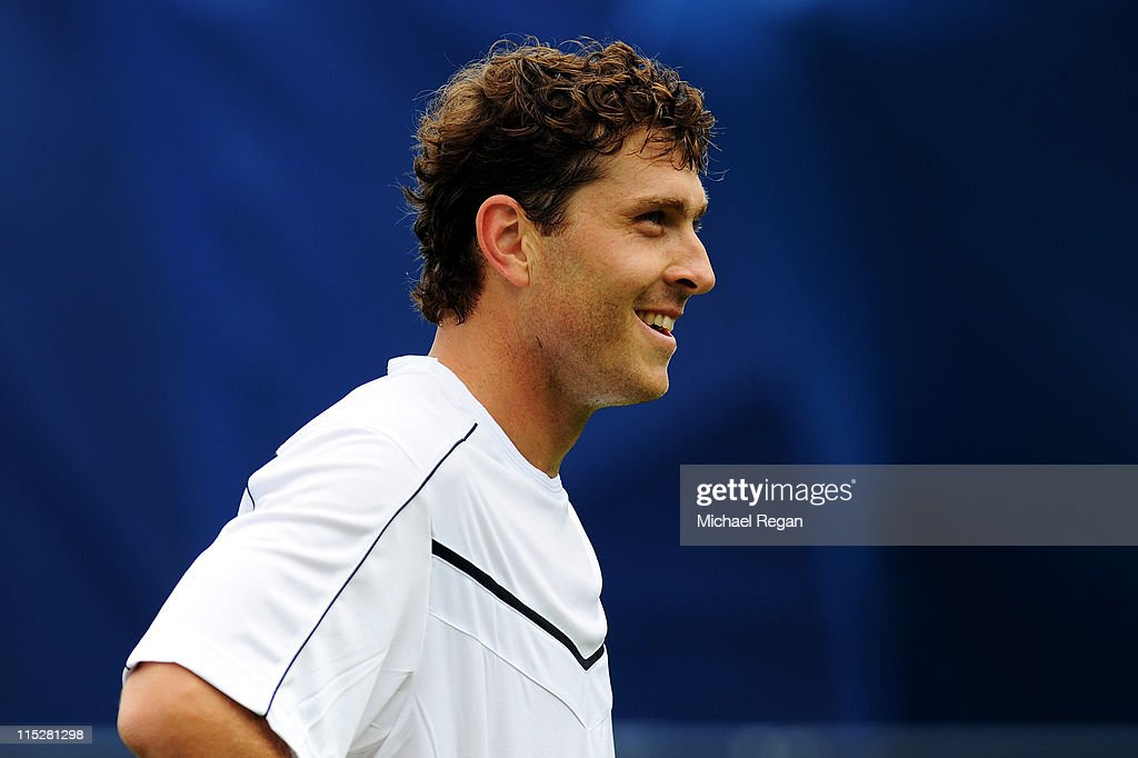 <a gi-track='captionPersonalityLinkClicked' href=/galleries/search?phrase=Michael+Berrer&family=editorial&specificpeople=780131 ng-click='$event.stopPropagation()'>Michael Berrer</a> of Germany reacts during his Men's Singles first round match against Ryan Harrison of the United States on day one of the AEGON Championships at Queens Club on June 6, 2011 in London, England.