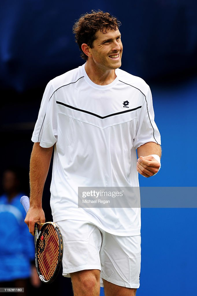<a gi-track='captionPersonalityLinkClicked' href=/galleries/search?phrase=Michael+Berrer&family=editorial&specificpeople=780131 ng-click='$event.stopPropagation()'>Michael Berrer</a> of Germany reacts to a play during his Men's Singles first round match against Ryan Harrison of the United States on day one of the AEGON Championships at Queens Club on June 6, 2011 in London, England.