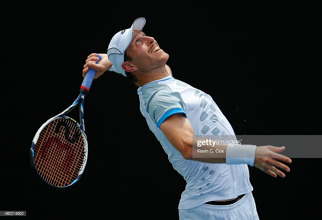 <a gi-track='captionPersonalityLinkClicked' href=/galleries/search?phrase=Michael+Berrer&family=editorial&specificpeople=780131 ng-click='$event.stopPropagation()'>Michael Berrer</a> of Germany serves to Benjamin Becker of Germany during the BB&T Atlanta Open at Atlantic Station on July 28, 2015 in Atlanta, Georgia.