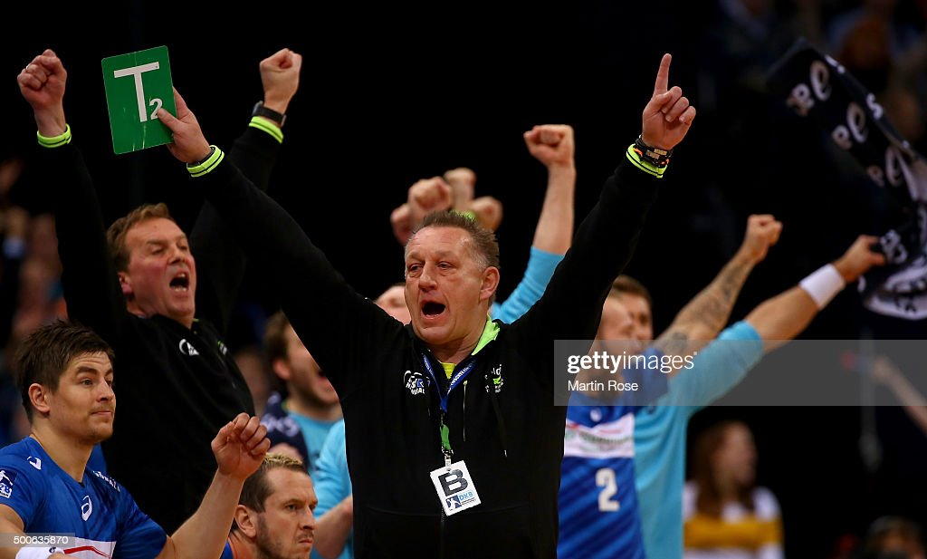 <a gi-track='captionPersonalityLinkClicked' href=/galleries/search?phrase=Michael+Biegler&family=editorial&specificpeople=2506225 ng-click='$event.stopPropagation()'>Michael Biegler</a>, head coach of Hamburg celebrates during the DKB Bundesliga handball match between HSV Handball and Fuechse Berlin at Barclaycard Arena on December 9, 2015 in Hamburg, Germany.