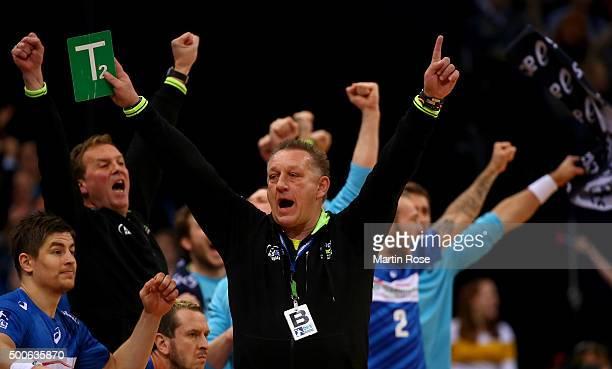 Michael Biegler head coach of Hamburg celebrates during the DKB Bundesliga handball match between HSV Handball and Fuechse Berlin at Barclaycard...