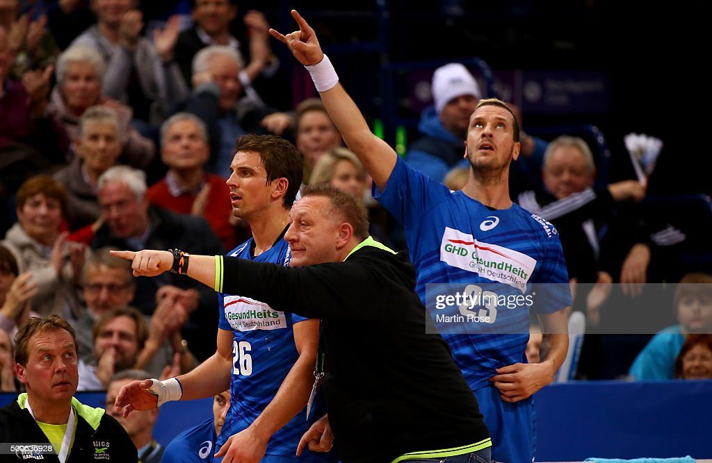 Michael Biegler head coach of Hamburg celebrates during the DKB Bundesliga handball match between HSV Handball and Fuechse Berlin at Barclaycard...