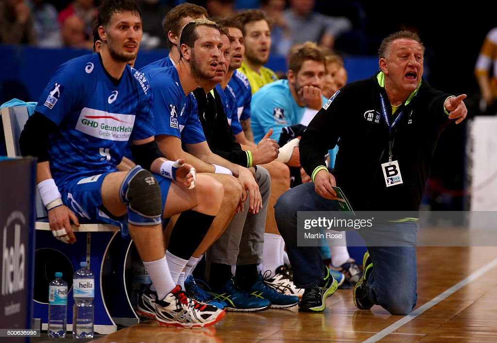 Michael Biegler head coach of Hamburg gives instructions during the DKB Bundesliga handball match between HSV Handball and Fuechse Berlin at...
