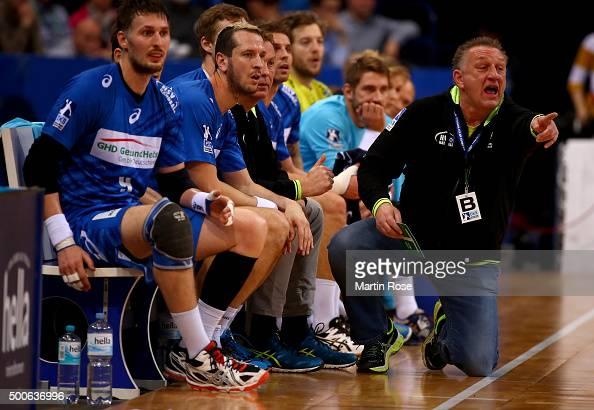 Michael Biegler head coach of Hamburg gives instructions during the DKB Bundesliga handball match between HSV Handball and Fuechse Berlin at...
