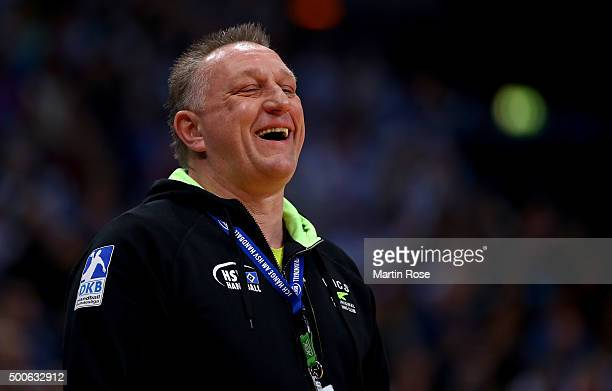 Michael Biegler head coach of Hamburg reacts during the DKB Bundesliga handball match between HSV Handball and Fuechse Berlin at Barclaycard Arena on...
