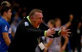 Michael Biegler head coach of Hamburg reacts during the DKB Bundesliga handball match between HSV Handball and Fuechse Berlin at Barclaycard Arena on...