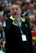 Michael Biegler head coach of HSV Handball gestures during the DKB HBL Bundesliga match between THW Kiel and HSV Handball at Sparkassen Arena on...