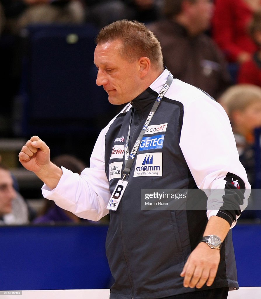 Michael Biegler, head coach of Magdeburg, celebrates during the Bundesliga match between HSV Hamburg and SC Magdeburg at the Color Line Arena on September 20, 2008 in Hamburg, Germany.