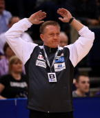 Michael Biegler head coach of Magdeburg reacts during the Bundesliga match between HSV Hamburg and SC Magdeburg at the Color Line Arena on September...