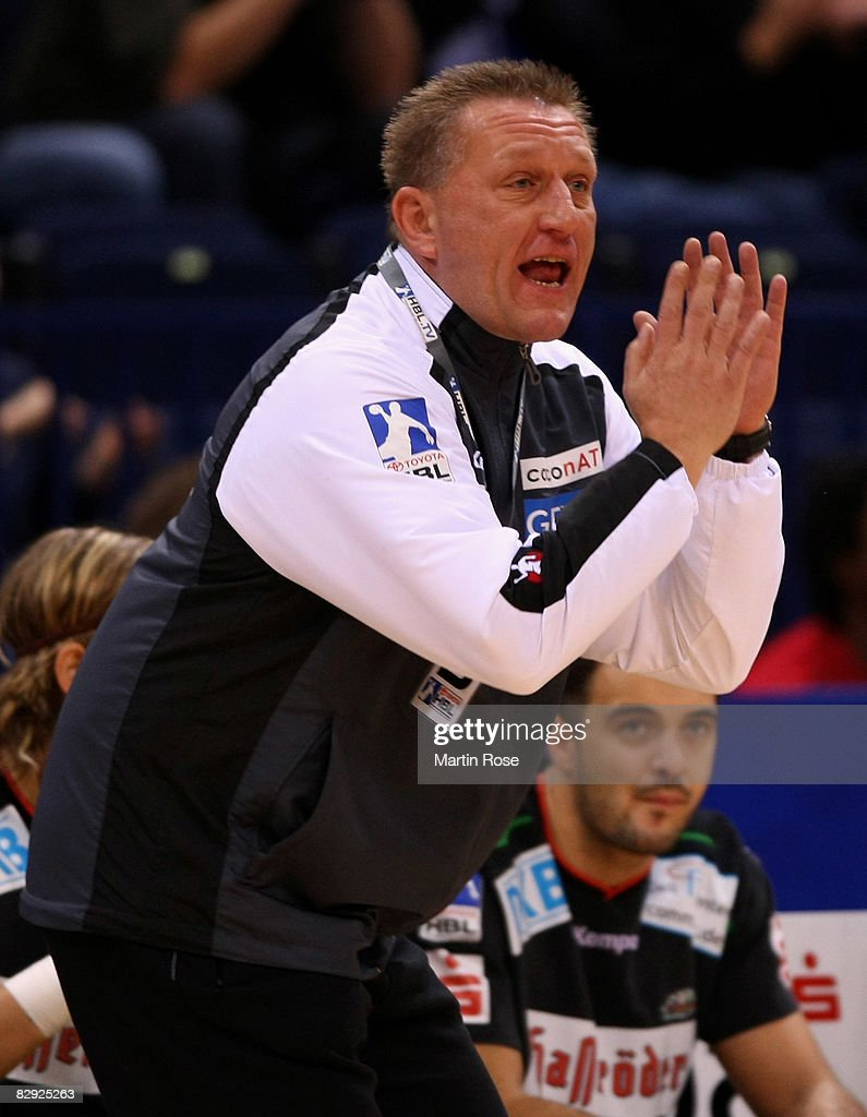 Michael Biegler, head coach of Magdeburg, reacts during the Bundesliga match between HSV Hamburg and SC Magdeburg at the Color Line Arena on September 20, 2008 in Hamburg, Germany.