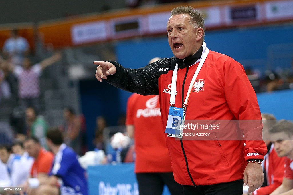 Michael Biegler head coach of Poland reacts during the 24th Men's Handball World Championships quarterfinals match between Poland and Croatia at the...