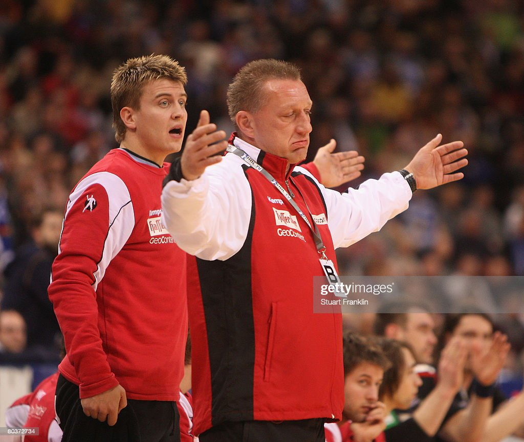 Michael Biegler, trainer of Magdeburg reacts during the Bundesliga Handball match between HSV Hamburg and SC Magdeburg at the Colorline Arena on March 25, 2008 in Hamburg, Germany.