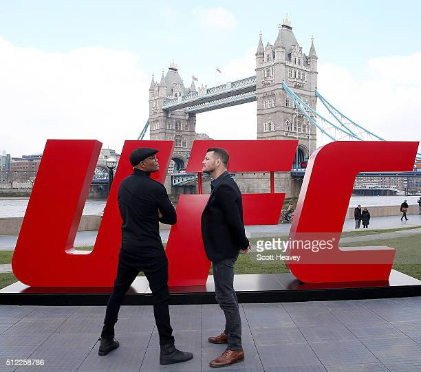 Michael Bisping and Anderson Silva face off at Tower Bridge on February 25 2016 in London England